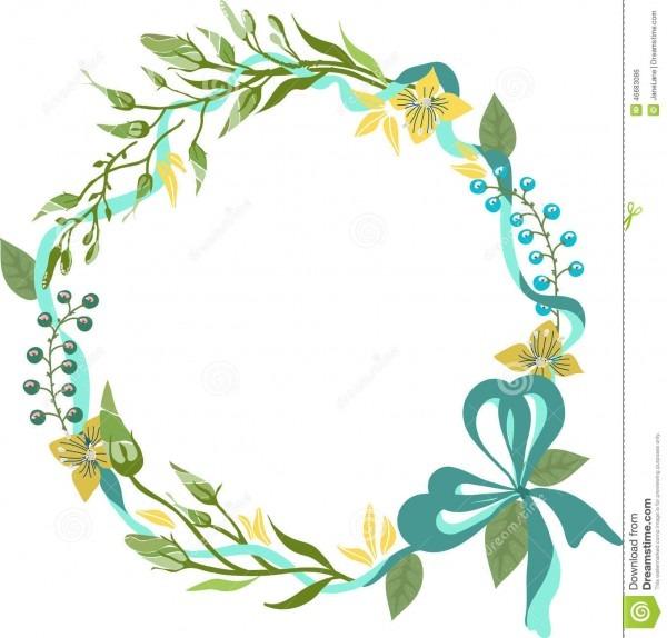 Color Floral Frame For Wedding Invitation Design Stock Vector