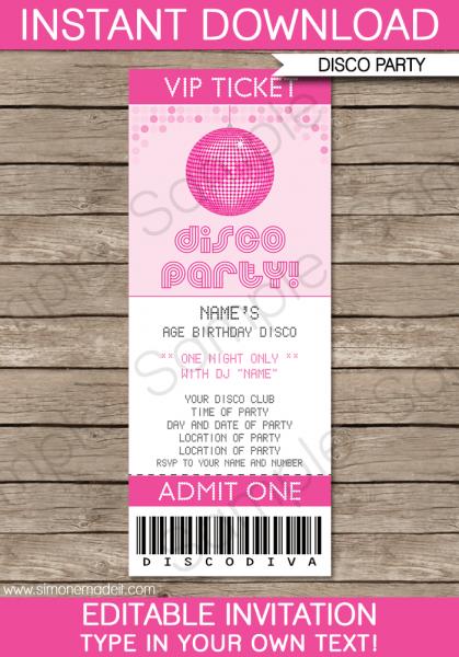 Concert Ticket Invite Template Disco Party Ticket Invitations