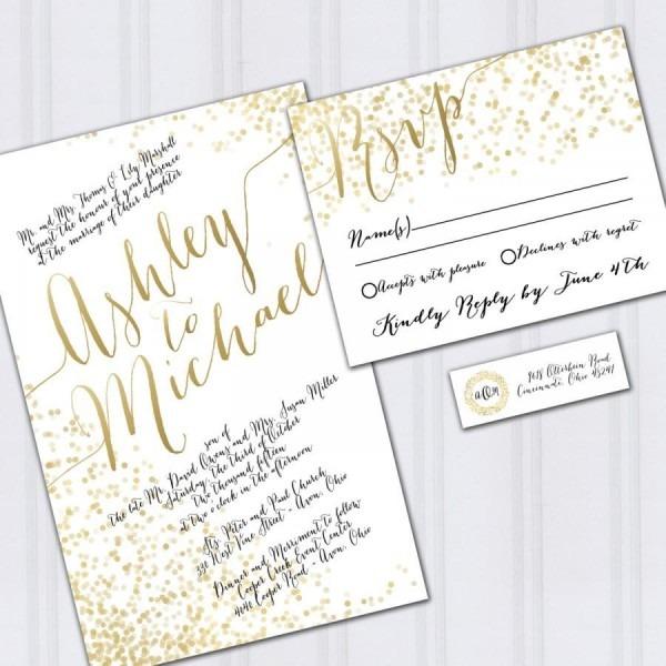 Confetti Wedding Invitations, Gold Foil Look Invites, Metallic
