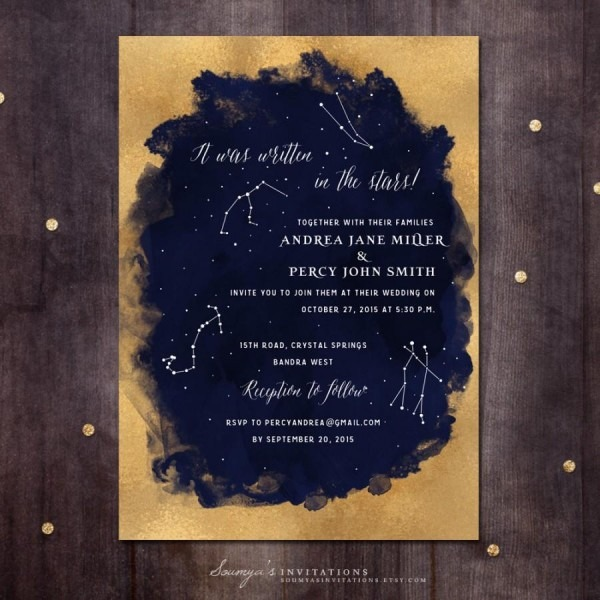 Constellation Wedding Invitation, Gold And Navy Wedding Invitation