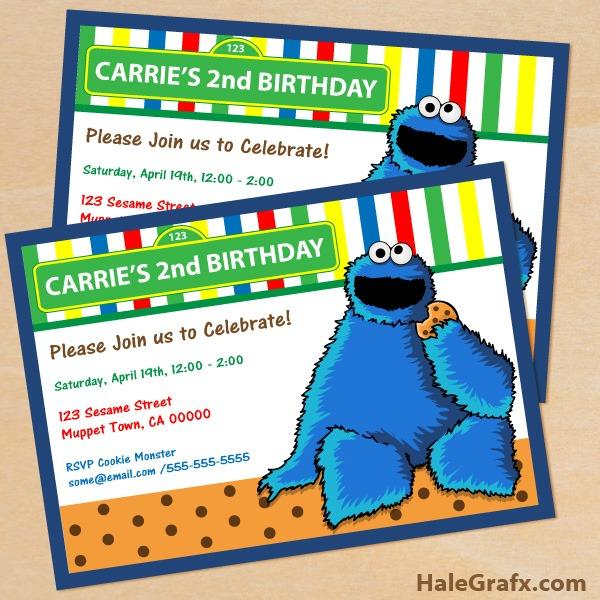 Cookie Monster Invites Popular Cookie Monster Invitation Template