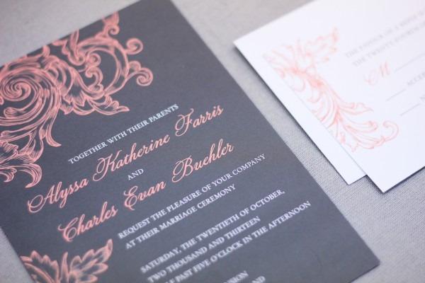 Coral And Grey Wedding Invitations Coral And Grey Wedding