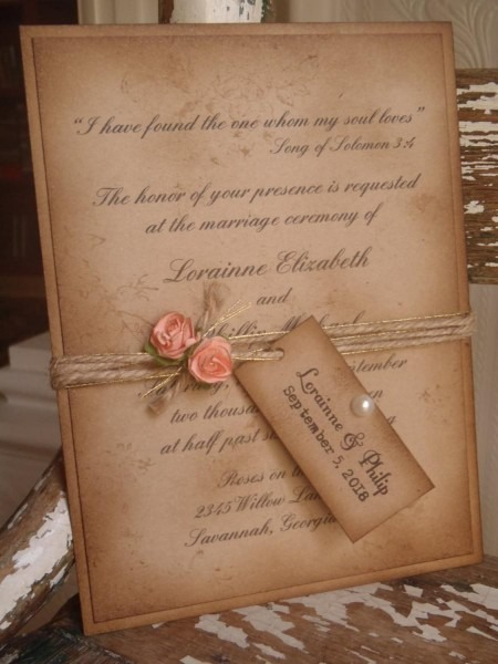 Coral, Rustic, Vintage Woodland, Kraft, Wedding Invitation Shabby