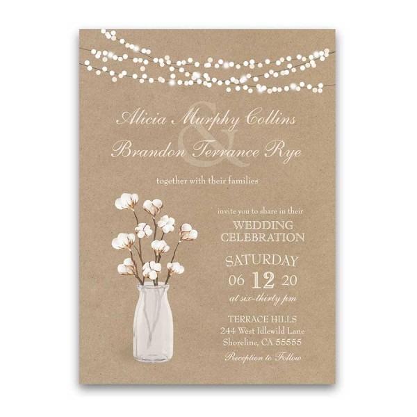Rustic Kraft Paper Wedding Invitation Cotton Branches Southern Wedding