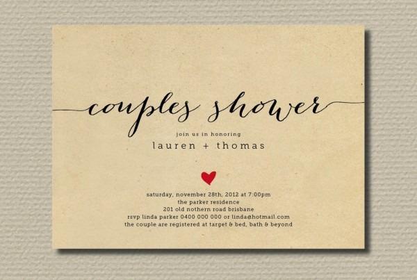 Couple Wedding Shower Invitations Couple Wedding Shower