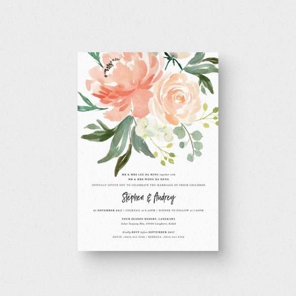 Floral Letter Iii Invitation Card