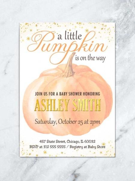 Pumpkin Baby Shower Invitation, Little Pumpkin Baby Shower