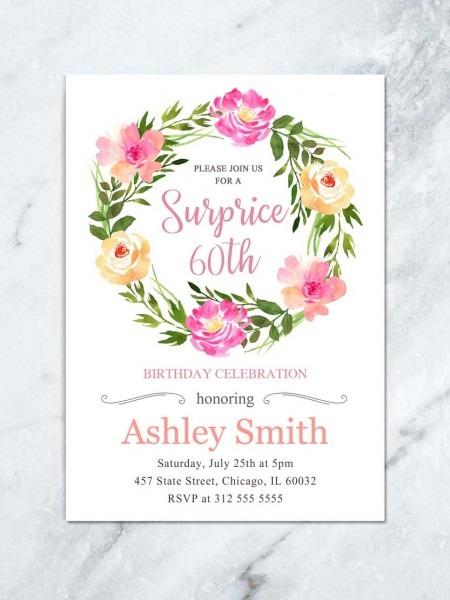 Floral Surprise Birthday Invite, Boho Floral Birthday Invitation