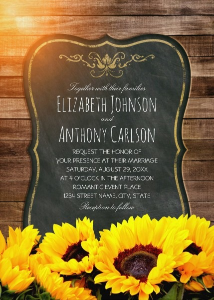 Creative Country Sunflower Wedding Invitations Best Vintage Rustic