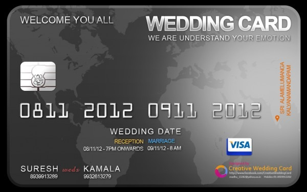 Credit Card Themed Wedding Card  Credit Card Wedding Invitation