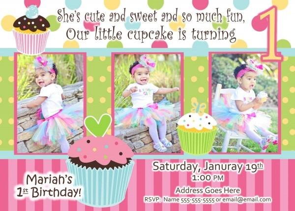 Cupcake First Birthday Invitations – Omg Invitation