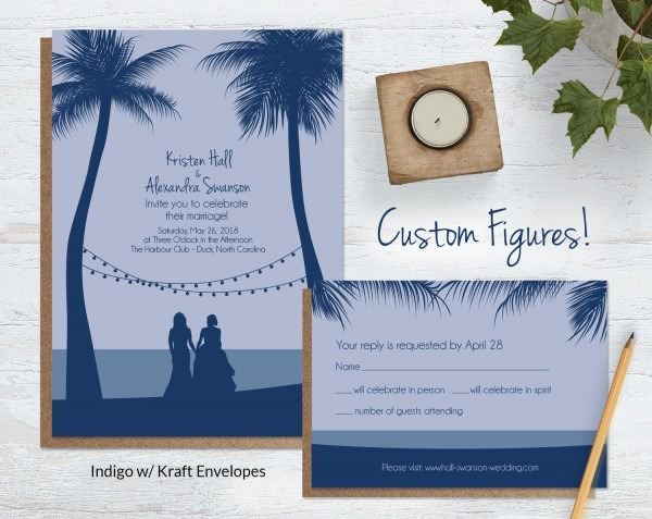 Beach Wedding Invitations With Custom Silhouettes