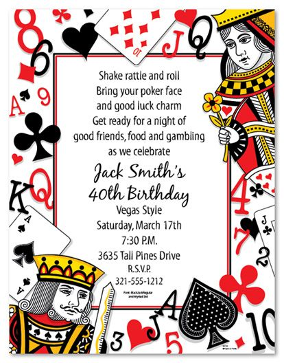 Casino Th Surprise Party Invitation Lovely Casino Birthday