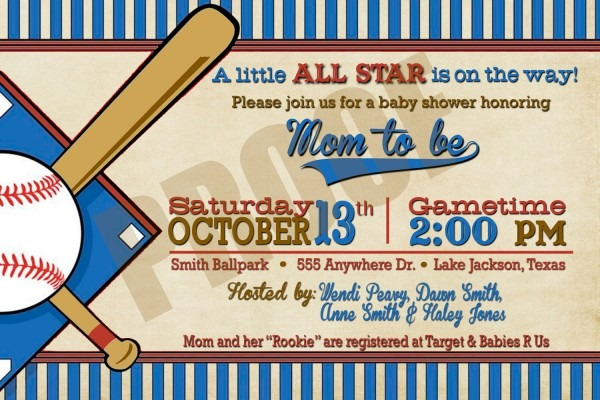 Cute Baseball Baby Shower Invitations Invitation Template Free 5