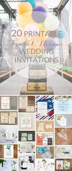 20 Printable Travel Theme Wedding Invitations In 2018