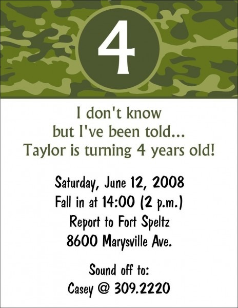 10 Camouflage Army Camo Birthday Party Invitations Or Printable