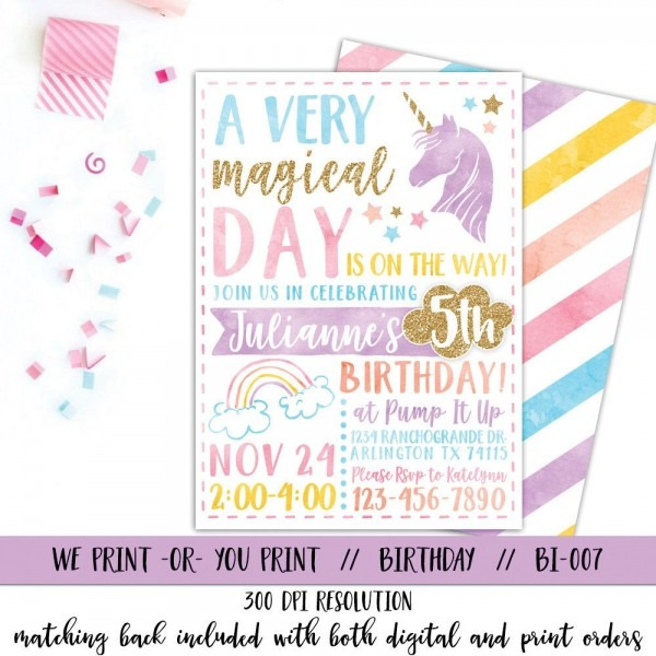 Unicorn Invitation, Rainbow Invitation, Magical Birthday