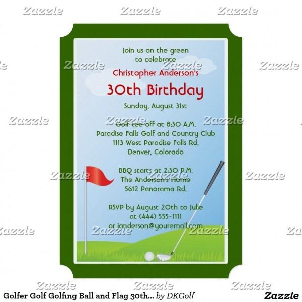 Golfer Golf Golfing Ball And Flag 30th Birthday 5  X 7  Invitation
