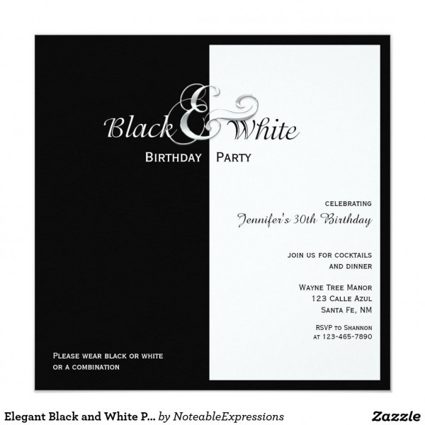 Elegant Black And White Party Invitation In 2018