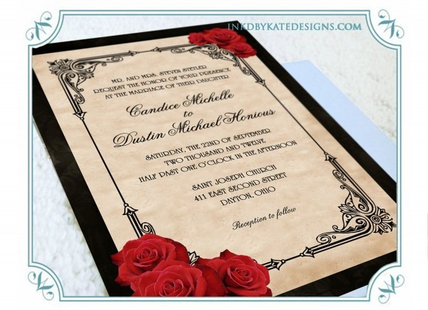 Printable Vintage Black And Red Romantic Rose Quinceanera Or