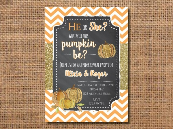Gender Reveal Invitation, Gender Reveal Party Invite, Pumpkin