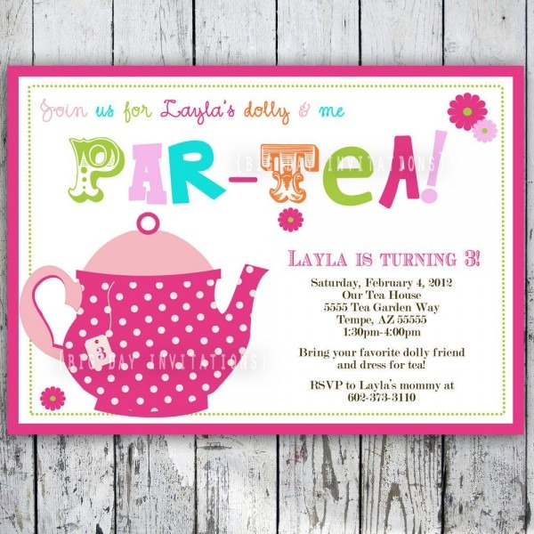 Tea Party Birthday Invitation Tea Party Birthday Invite