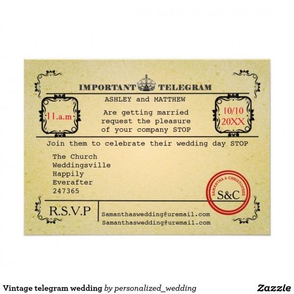 Vintage Telegram Wedding 5x7 Paper Invitation Card