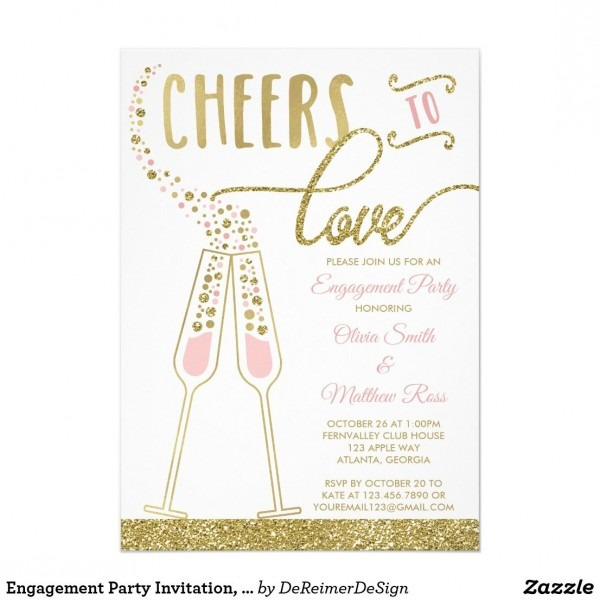 Engagement Party Invitation, Faux Glitter & Foil Invitation In