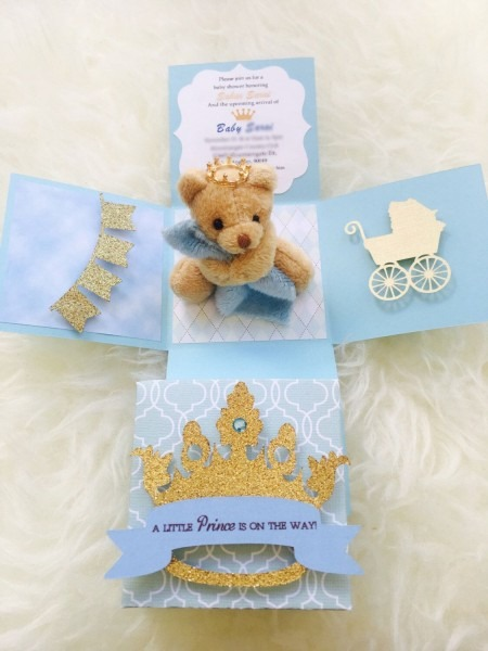 Teddy Bear Theme Baby Shower Invitation  Explosion Box Invitation