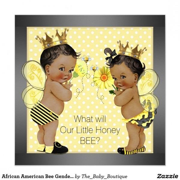 African American Bee Gender Reveal Invitation