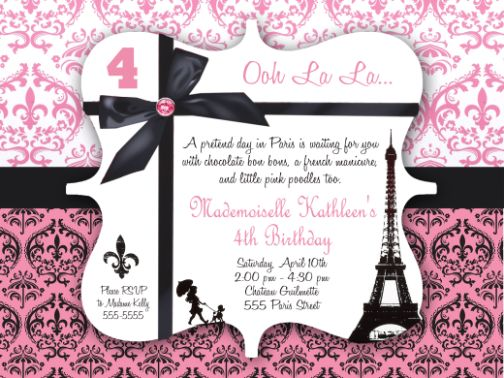 Paris Party Invitation Elegant Paris Party Invitations