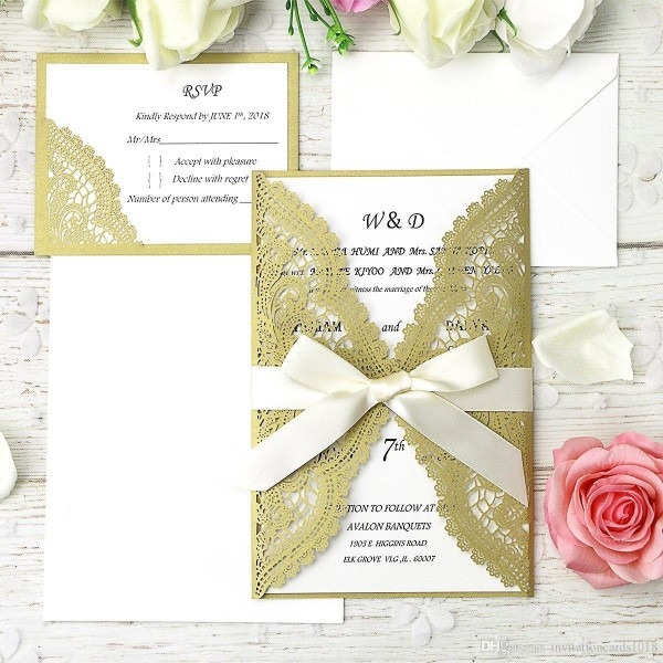 Dark Gold Laser Cut Wedding Invitation Cards Kits With Ribbons +