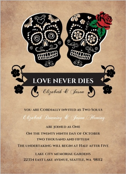 Day Of The Dead Wedding Invitations Day Of The Dead Wedding