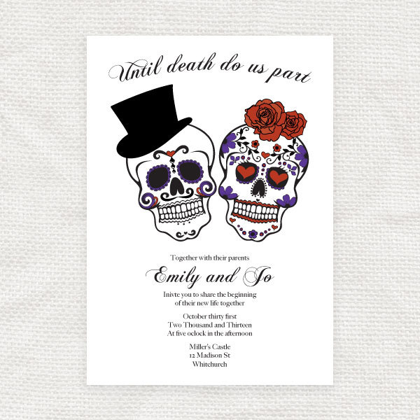 Day Of The Dead Wedding Invitations Template
