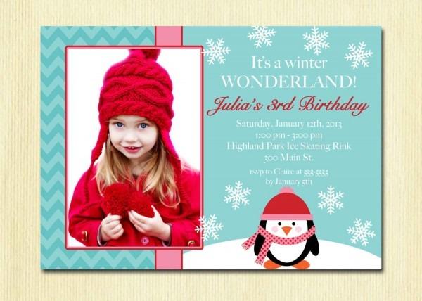 Girls Winter Wonderland Birthday Invitation