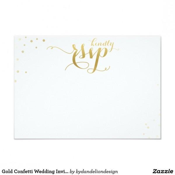 Gold Confetti Wedding Invitation Blank Rsvp Card