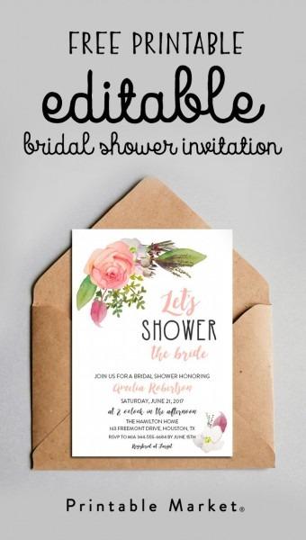 Free Editable Bridal Shower Invitation Watercolor Flowers Pdf In