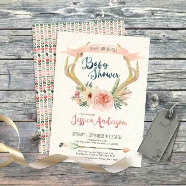 Deer Floral Antlers Watercolor Boho Baby Shower Invitation