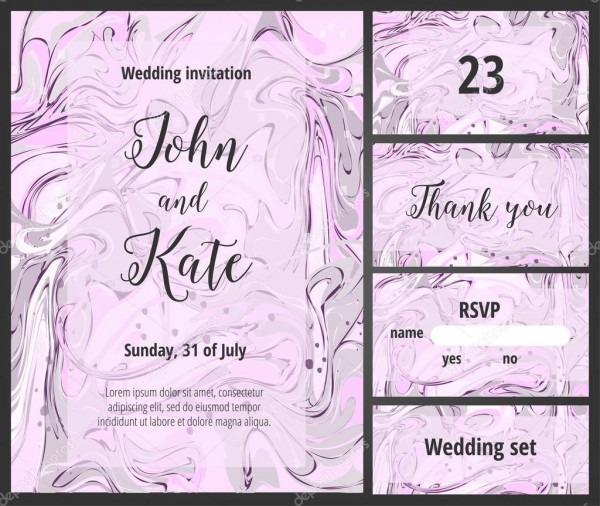 Pink And Purple Wedding Invitation Printable Template Set — Stock