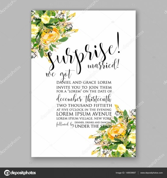 Wedding Invitation Card Template Yellow Rose Floral Printable Gold
