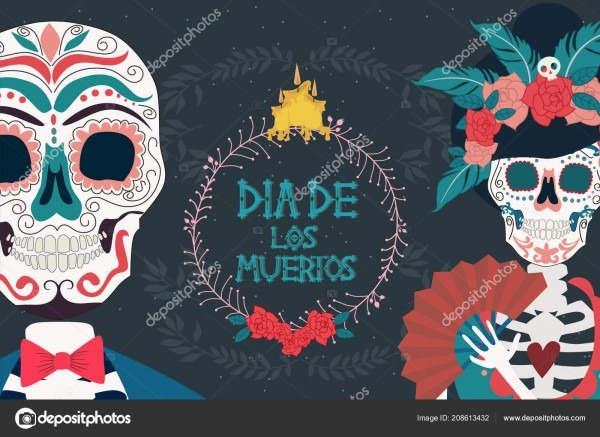 Day Dead Poster Skeleton Mexican Traditional Holiday Mexican