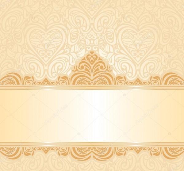 Gentle Peach Wedding Invitation Floral Background — Stock Vector