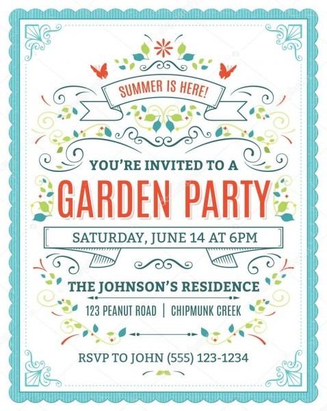 Garden Party Invitation — Stock Vector © Cajoer  65997207