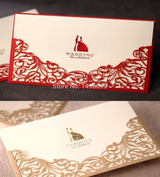 Design Laser Cut Floral Red Gold Wedding Invitations Cards Paper