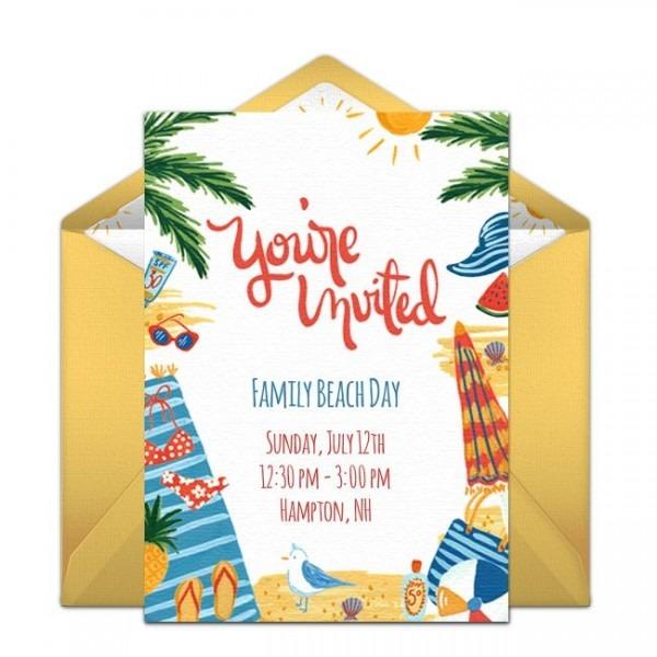 Elegant Birthday Beach Party Invitations