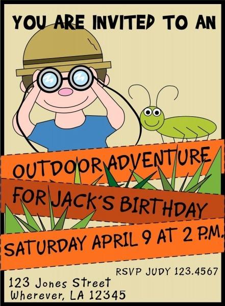 Outdoor Adventure Jungle Birthday Invitations