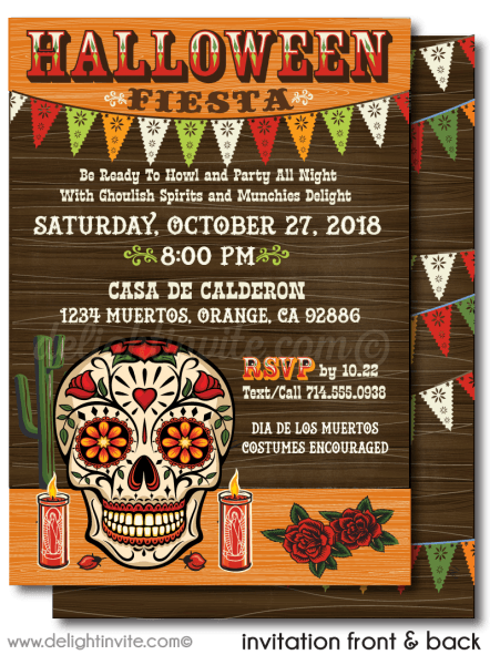 Day Of The Dead Halloween Invitations Day Of The Dead Halloween