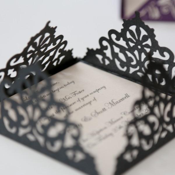 Lace Edged Black Square Laser Cut Wedding Invitation
