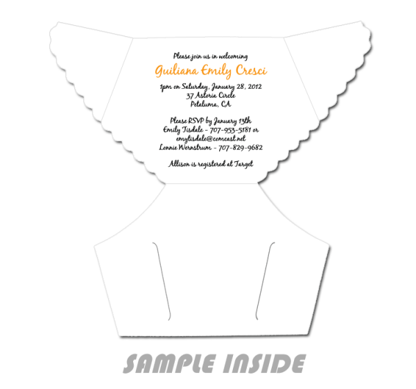 Diaper Baby Shower Invitations Template Unique With Diaper Baby