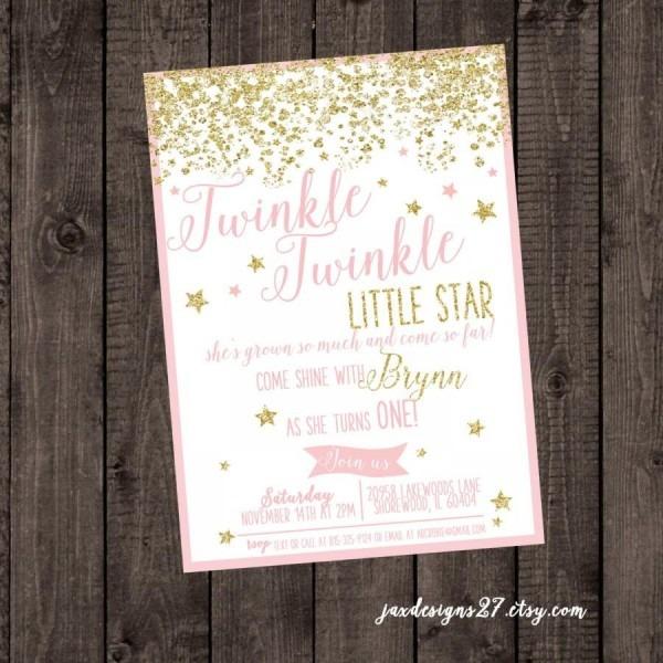 Digital File Twinkle Twinkle Little Star, Pink Birthday Invitation
